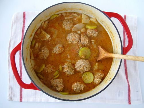 Albondigas Soup (Mexican turkey and rice meatball soup)