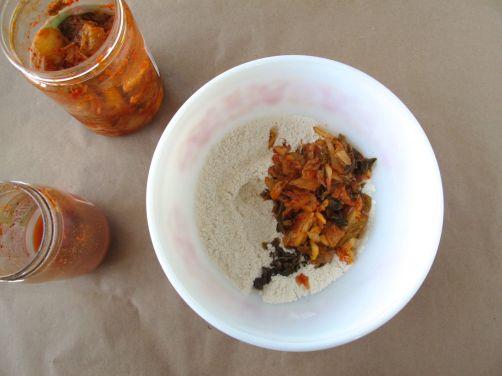 Making Kimchijeon (kimchi pancake)
