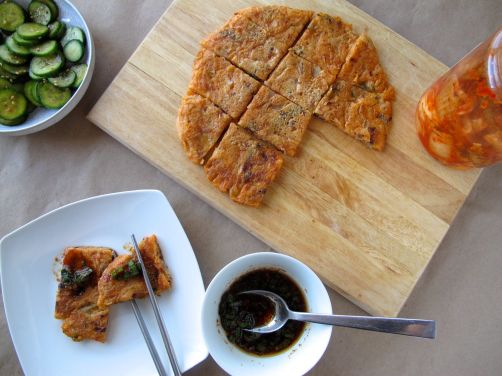 Kimchijeon (kimchi pancake) with dipping sauce