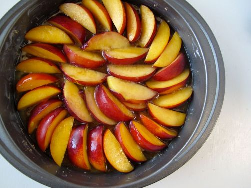 Making the top layer: Stone Fruit Upside-Down Cake