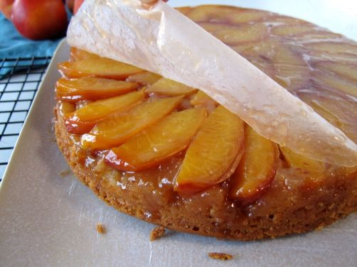 Stone Fruit Upside-Down Cake layer of Peaches & Cream Cake