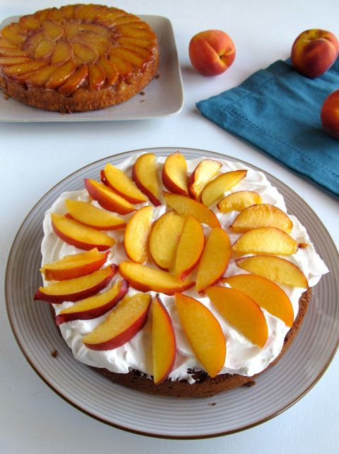Peaches and Cream layered stone fruit upside-down cake