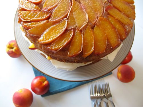 Peaches and Cream Cake (layered stone fruit upside-down cake)