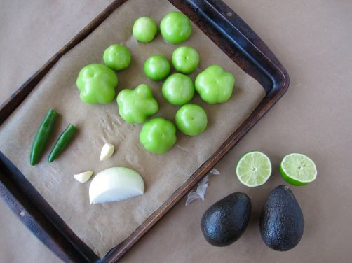 Tomatillos and other ingredients for Taqueria-Style Creamy Avocado Salsa
