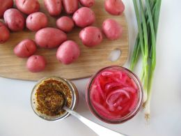 Ingredients for Whole-Grain Mustard Potato Salad with Quick-PIckled Red Onion