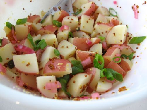 Whole-Grain Dijon Mustard Potato Salad with Quick-Pickled Red Onion