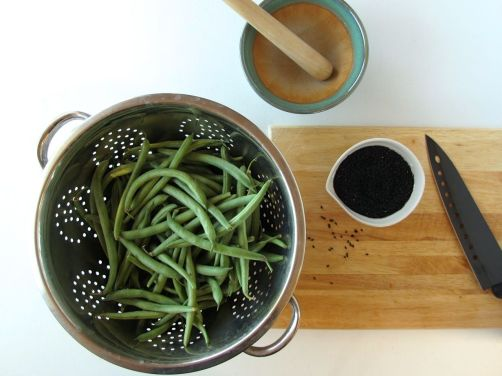 Ingredients for Black Sesame Green Bean Goma-Ae