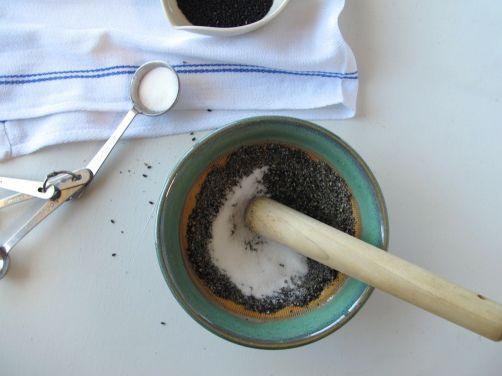 Making Black Sesame Goma-Ae in a Japanese suribachi