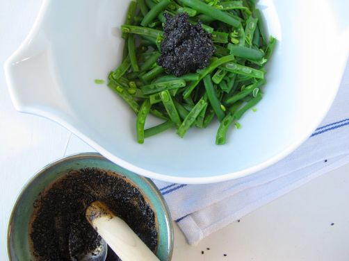 Making Green Bean Black Sesame Goma-Ae