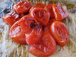 Roasted tomatoes for Spanish chilled gazpacho soup
