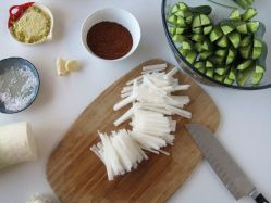 Ingredients for Cucumber Kimchi (Oi Sobagi)