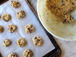 Making Orange Cardamom Cranberry Oatmeal Cookies