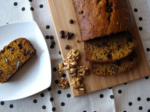 One-Bowl Pumpkin Walnut Chocolate Chip Bread
