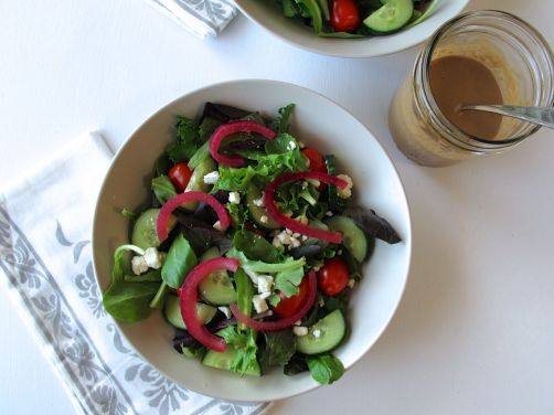 Balsamic Honey Vinaigrette and Mixed Greens Salad with Feta Cheese