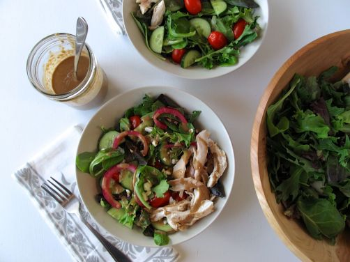 Balsamic Honey Vinaigrette and Warm Chicken Salad
