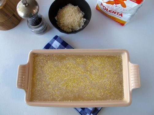 Making Parmesan Black Pepper Polenta (Baked, then Grilled)
