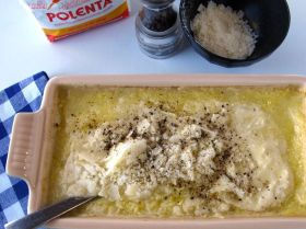 Making Parmesan Black Pepper Polenta (Baked then Grilled)