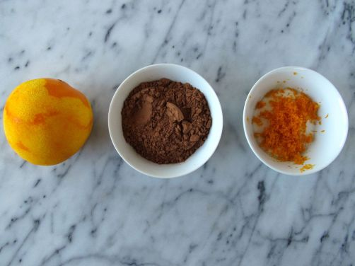 Cocoa powder and orange zest sugar for Orange Chocolate Pancakes