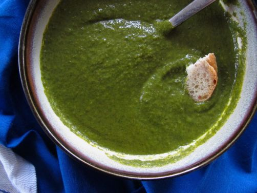 Garlicky Green Soup, made with spinach, kale, and herbs