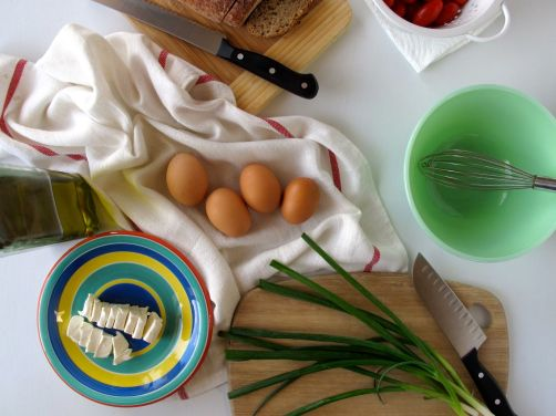 Ingredients for Scallion Cream Cheese Eggs