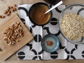 Ingredients for Almond Butter Chocolate Granola Bars