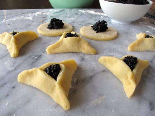 Making Black Sesame Seed filled Hamantaschen
