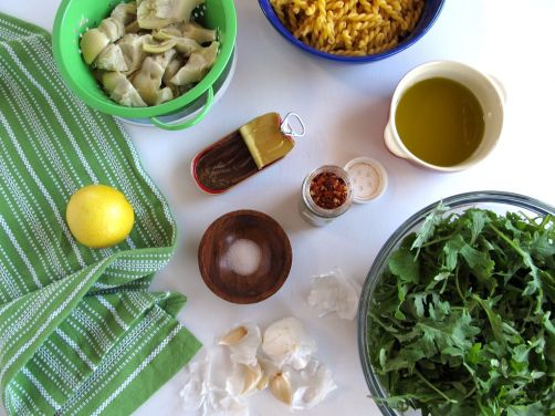 Ingredients for Garlicky Kale and Artichoke Pasta with Anchovies