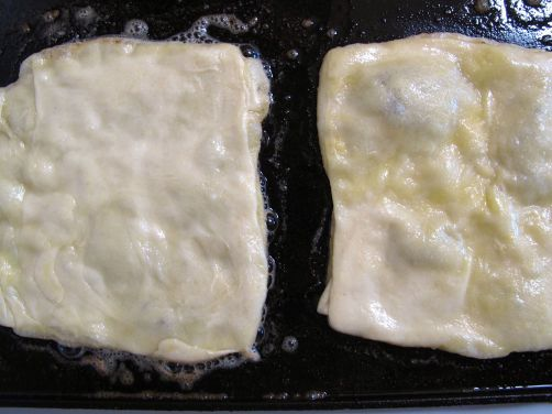 Frying Msemen (Moroccan Flatbread) in butter