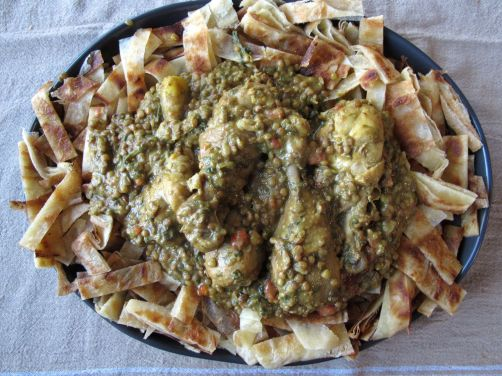 Chicken Rfissa and Msemen (Moroccan Fried Flatbread)