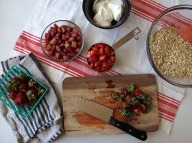 Ingredients for Strawberry Rhubarb Baked Oatmeal
