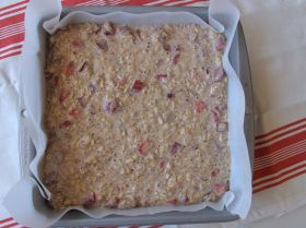 Making Strawberry Rhubarb Baked Oatmeal