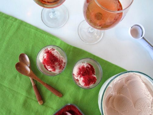 Rose Wine and Pomegranate Frozen Yogurt with Pulverized Raspberry Dusting
